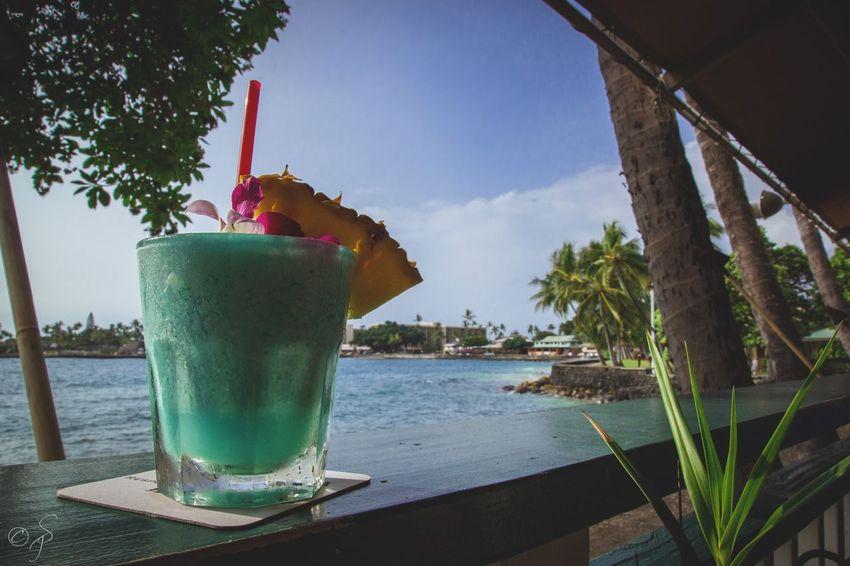 Let's toast to the good times!🍍🍹 Big Island Big Island Hawaii Hawaii Drink Toast Cheer Cheers Blue Hawaii Pineapple Pacific Ocean Ocean Drinking Straw Drinking Glass Freshness Beach Sea