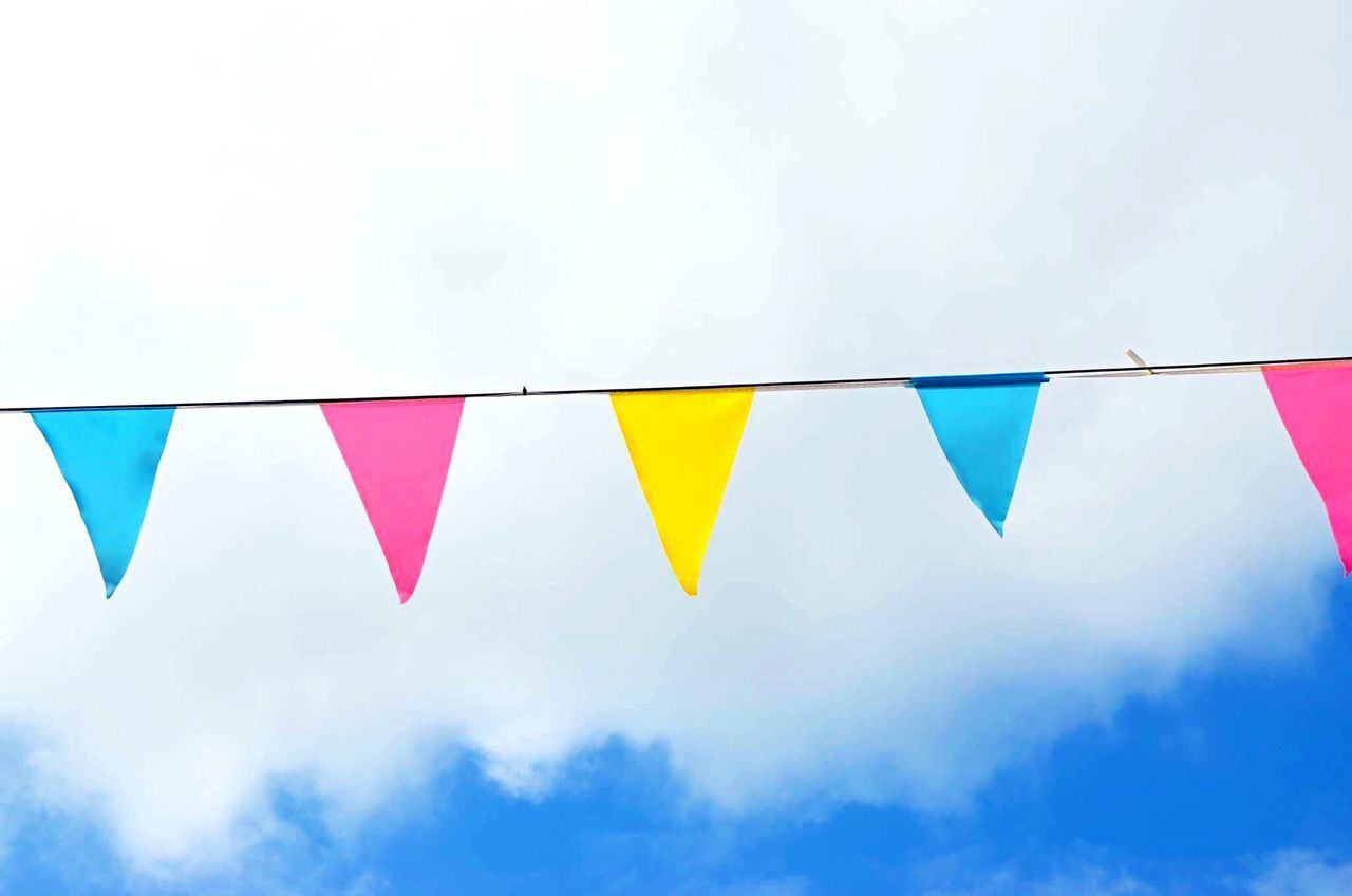 Sky Colors Colorful Decoration Colorful Sky Colourful Colourfulsky Banner Banners Pink Blue Party Party Time Party Decorations Cloud Clouds And Sky Millennial Pink EyeEm Diversity Neon Life Paint The Town Yellow