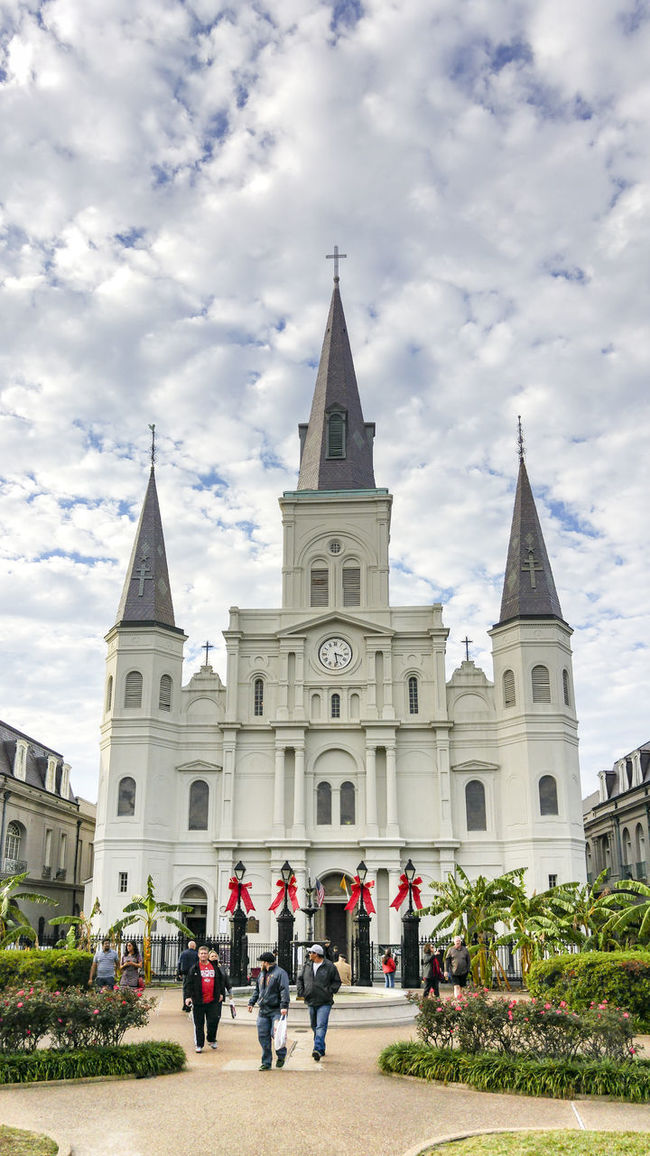Jackson Square, New Orleans, United States Architecture Built Structure Cathedral Church Cloud Cloud - Sky Cloudy Day Dome Façade Grass Jackson Square Lawn Lifestyles Louisiana New Orleans Outdoors Place Of Worship Religion Sky Spirituality Tourism Travel Destinations United States