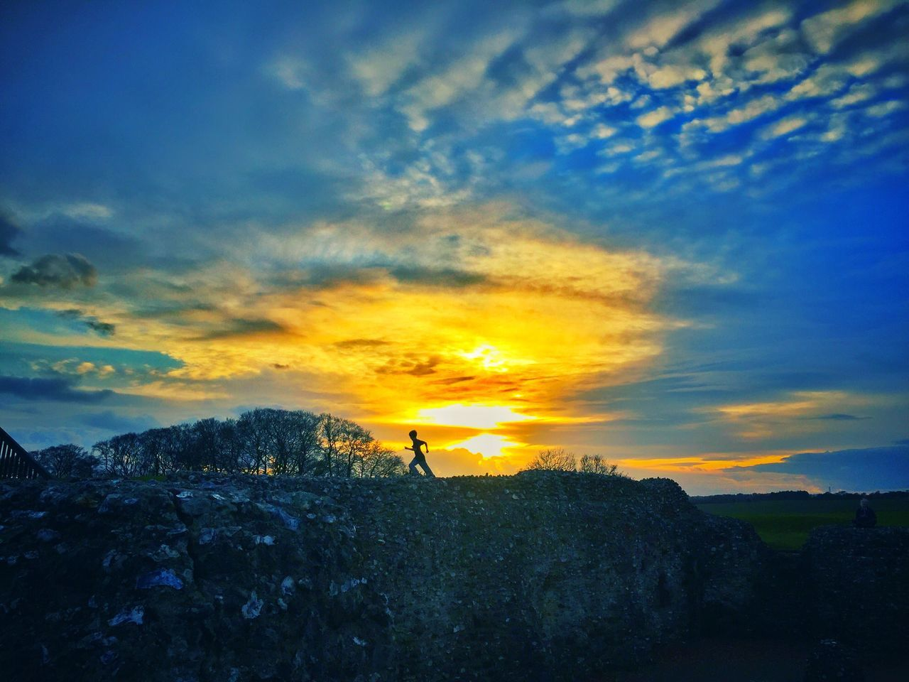 Old Sarum Hill Fort Sky Nature Sunset Beauty In Nature Scenics Silhouette Outdoors Cloud - Sky Tranquility Tranquil Scene Real People One Person Landscape Men One Man Only Day People Salisbury Week On Eyeem Long Goodbye