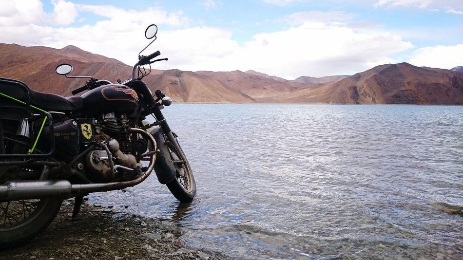 Mountain Motorcycle Day Mountain Range Transportation Landscape Cloud - Sky Water Sky No People Nature Outdoors Beauty In Nature Pangong Leh Pangong Lakeside Leh Ladakh.. Leh
