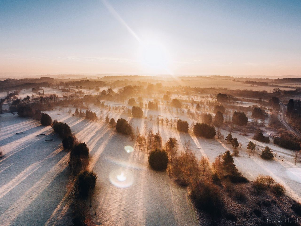 Frosty Sunrise Dronephotography Drone  Phantom 4 Dji Aerial Aerial Photography Landscape Epic Winter Frost Sunrise Snow Outdoors Sunlight Nature Sunbeam Sky Sun Beauty In Nature No People Tranquility