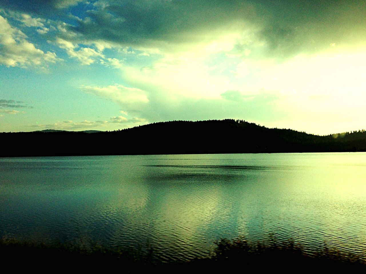 scenics, silhouette, sky, tranquil scene, tranquility, sunset, nature, water, beauty in nature, lake, reflection, no people, outdoors, cloud - sky, tree, landscape, mountain, day