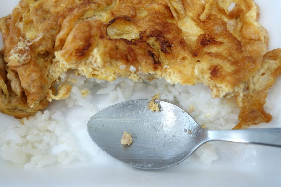 Food Close-up No People Indoors  Day Spoon Rice Omlet White