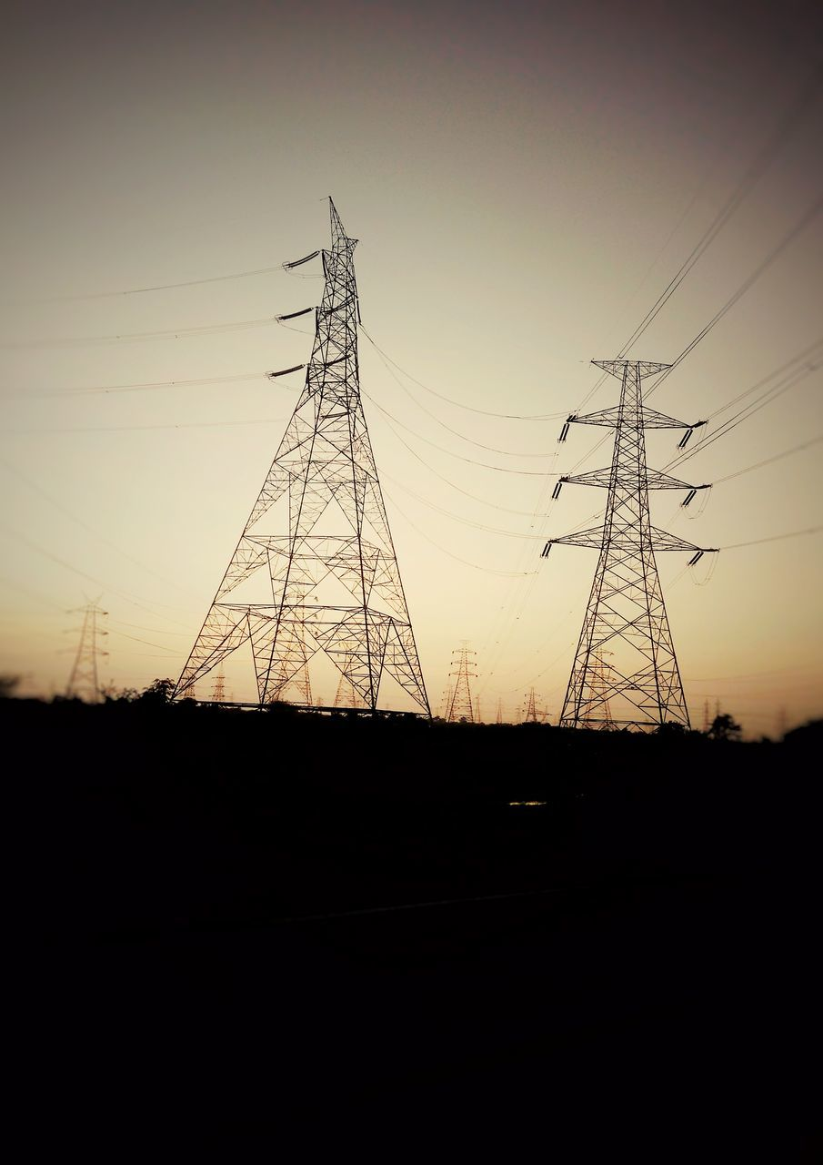 electricity pylon, connection, silhouette, sunset, cable, electricity, landscape, electricity tower, no people, power supply, fuel and power generation, clear sky, nature, outdoors, sky, day
