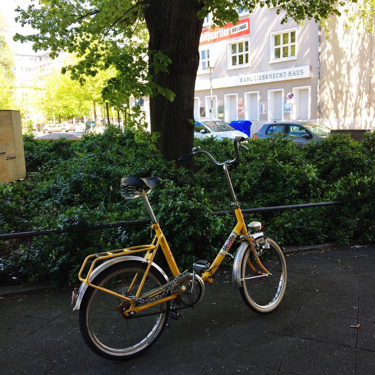 Standing Alone Outstanding Yellow Bike Yellow Color Bicycle Rosa-Luxemburg-Platz Berlin Mitte Karl Liebknecht