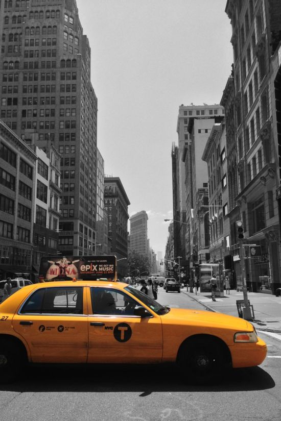 New York City street scene looking South. A yellow cab/taxi in the foreground and the Flatiron building in the background. New York City New York Downtown SouthBound Flatiron Building Flatiron Flatiron District Streetphotography Streetphoto_bw