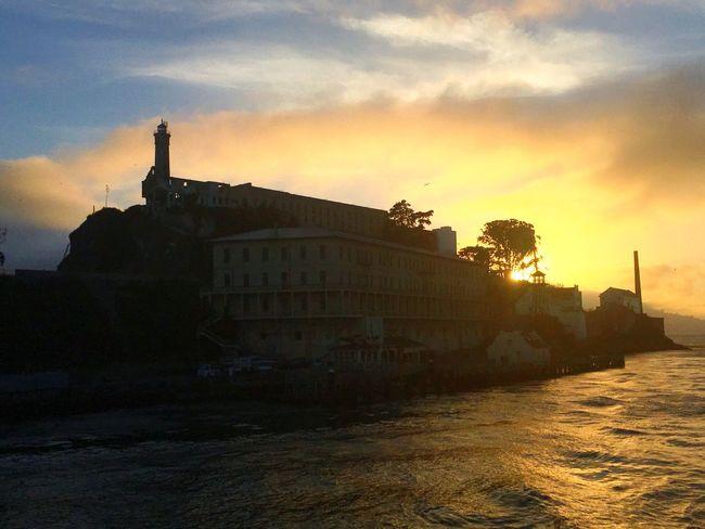 Sunset Sun Sea Alcatraz Island San Francisco SanFranciscoBay Alcatraz Built Structure History Sky