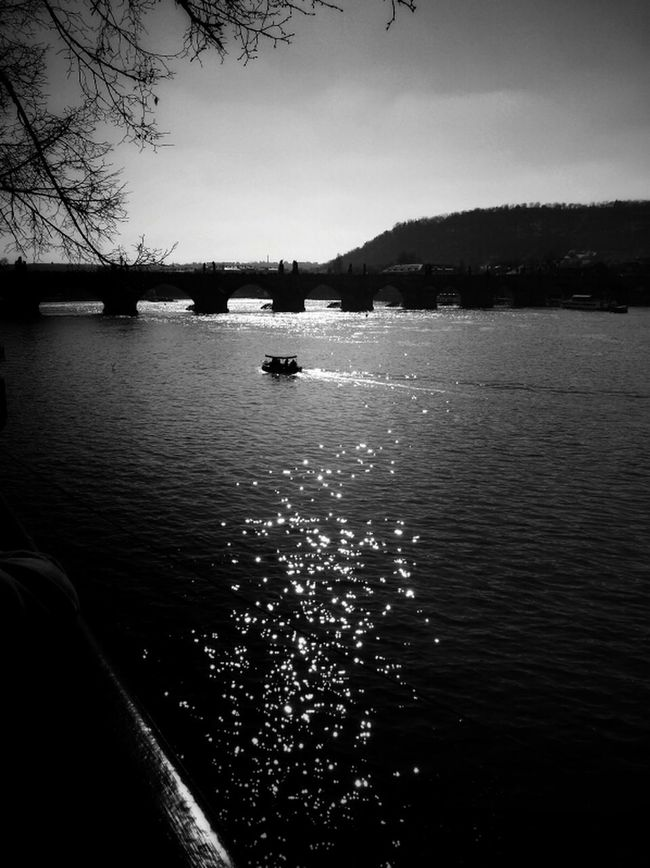 Sunshine over Vltava Prague Blackandwhite Black And White Bnw Gang_family Eye4photography  Bw_collection Bws_landscape