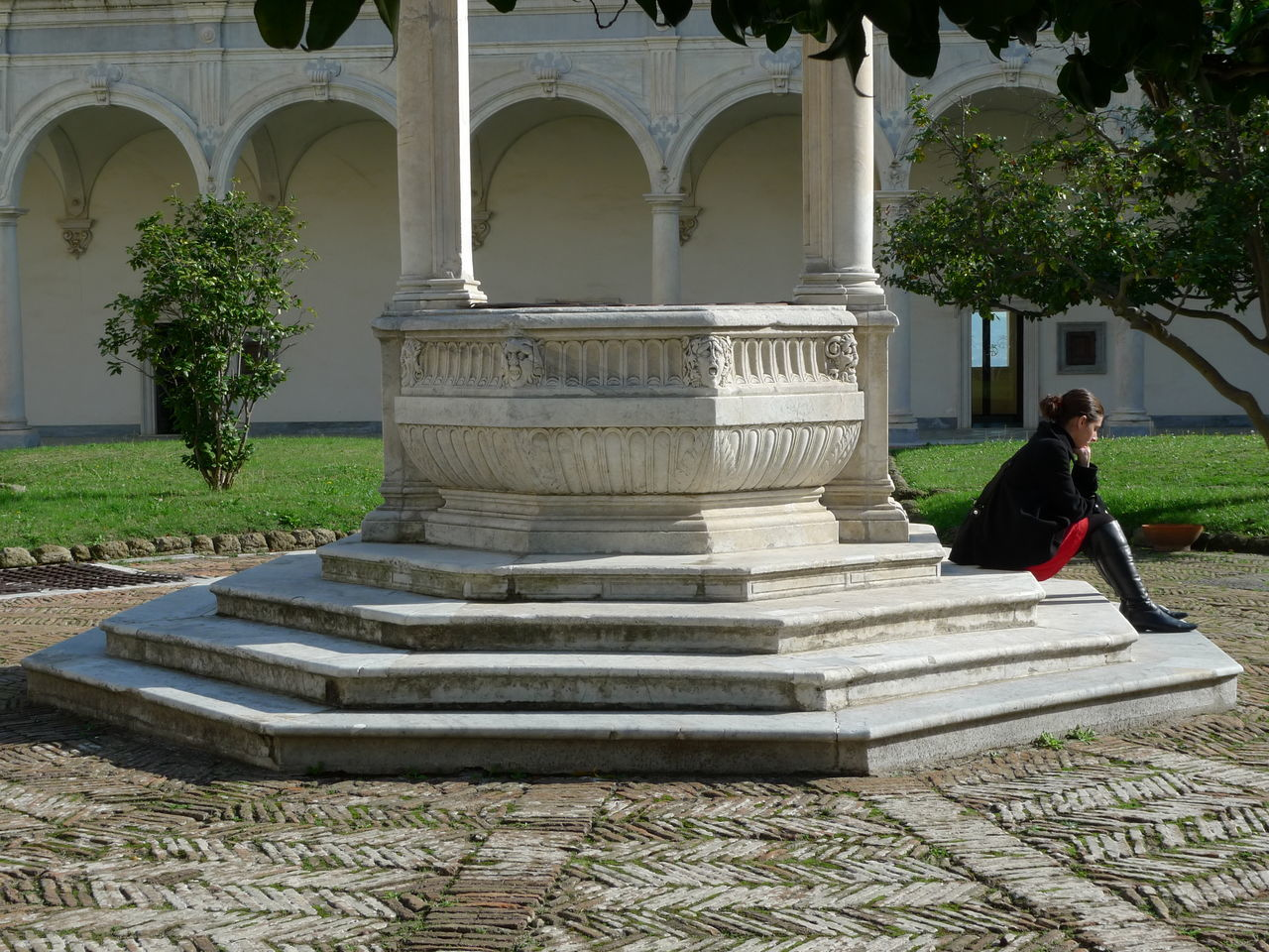 Adult Ancient Arch Architectural Column Architecture Building Exterior Built Structure Certosa San Martino Cloister Day Full Length History Lifestyles Naples, Italy Nature One Person Outdoors People Real People Staircase Steps Steps And Staircases Travel Destinations Tree