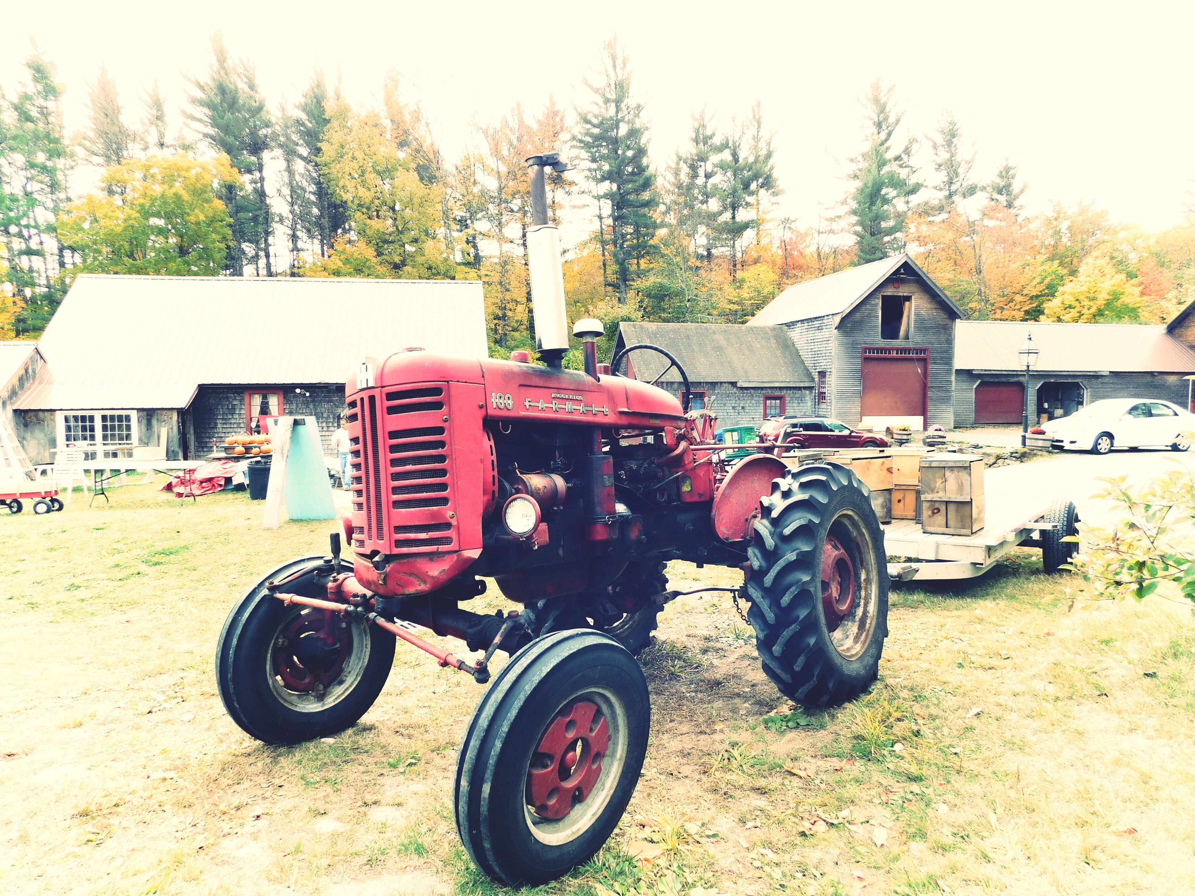 transportation, mode of transport, land vehicle, tree, outdoors, day, no people, tractor, sky