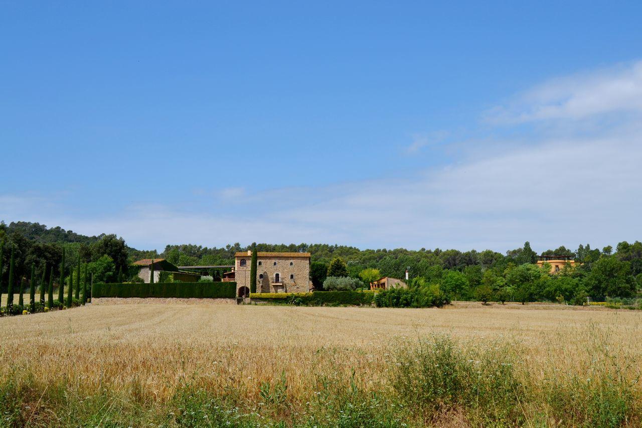 Spain, Púbol Agriculture Architecture Blue Cloud Field Grass Green Color Nature No People Plant Púbol Sky Tree Village