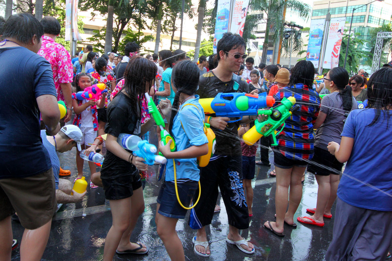 Songkran water fight in Siam Square, Bangkok Adult Adults Only Celebration City Crowd Day Eye4photography  EyeEm Best Shots Festival Fun Large Group Of People Leisure Activity Men Outdoors Party Party - Social Event People Real People Songkran Water Fight Wet Women Young Women