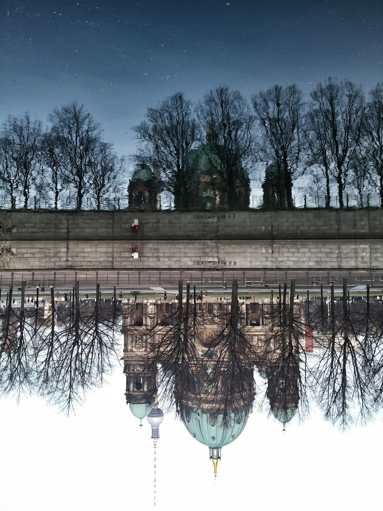 Landscapes With WhiteWall Travel Photography City Waterreflections  Reflection Traveling ColdMorning Berlin Germany Dayandnight Parallel Universe Thinktwice Anotherworld Mirror