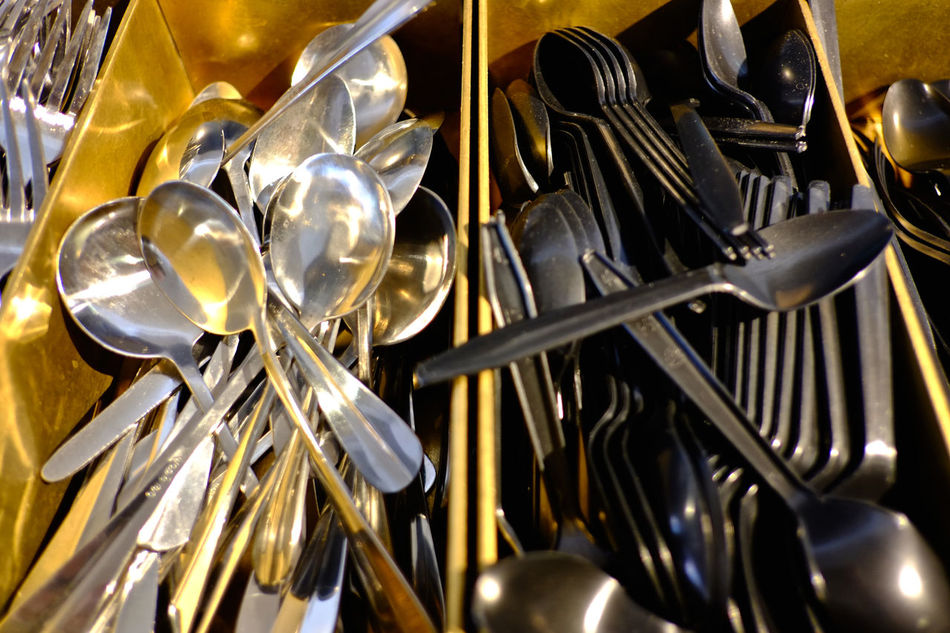 Design elements at modern-style bar/cafe/restaurant Backgrounds Close-up Cutlery Day Eating Out Gold Colored Indoors  Kitchen Kitchen Utensils Large Group Of Objects Metal Music No People Spoon
