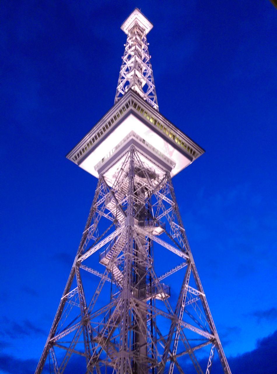 blue, low angle view, tower, architecture, built structure, no people, day, outdoors, sky