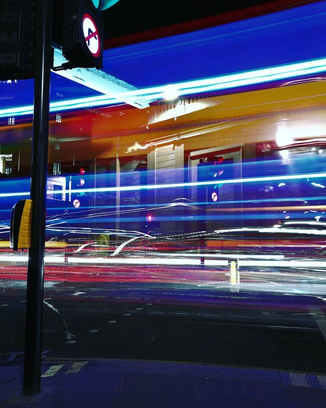 Lightpainting with London Traffic! Illuminated Night Motion Built Structure Architecture Blue Building Exterior Light Trail City City Life Outdoors Multi Colored Electric Light No People Tail Light London London Bus People London Taxi Taxi Public Transportation First Eyeem Photo