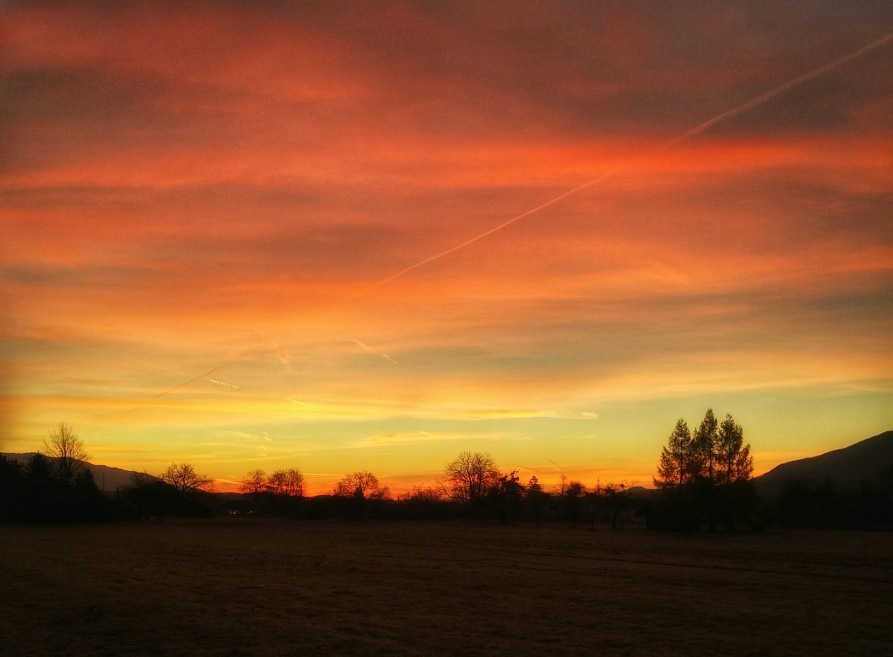 sunset, scenics, tranquility, beauty in nature, tranquil scene, nature, no people, tree, sky, landscape, silhouette, cloud - sky, field, outdoors, vapor trail, day
