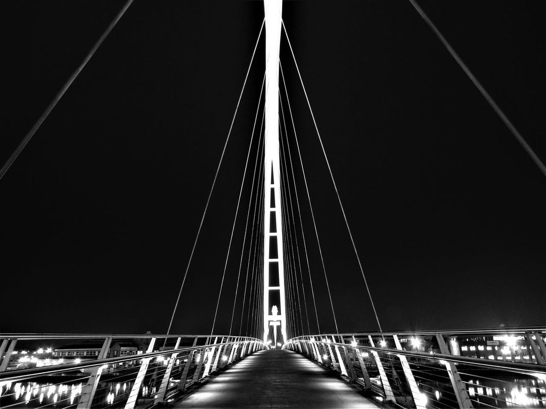 Architecture Bridge - Man Made Structure Built Structure Connection Illuminated Infinity Bridge Low Angle View Night No People Outdoors Railing Sky Suspension Bridge Transportation