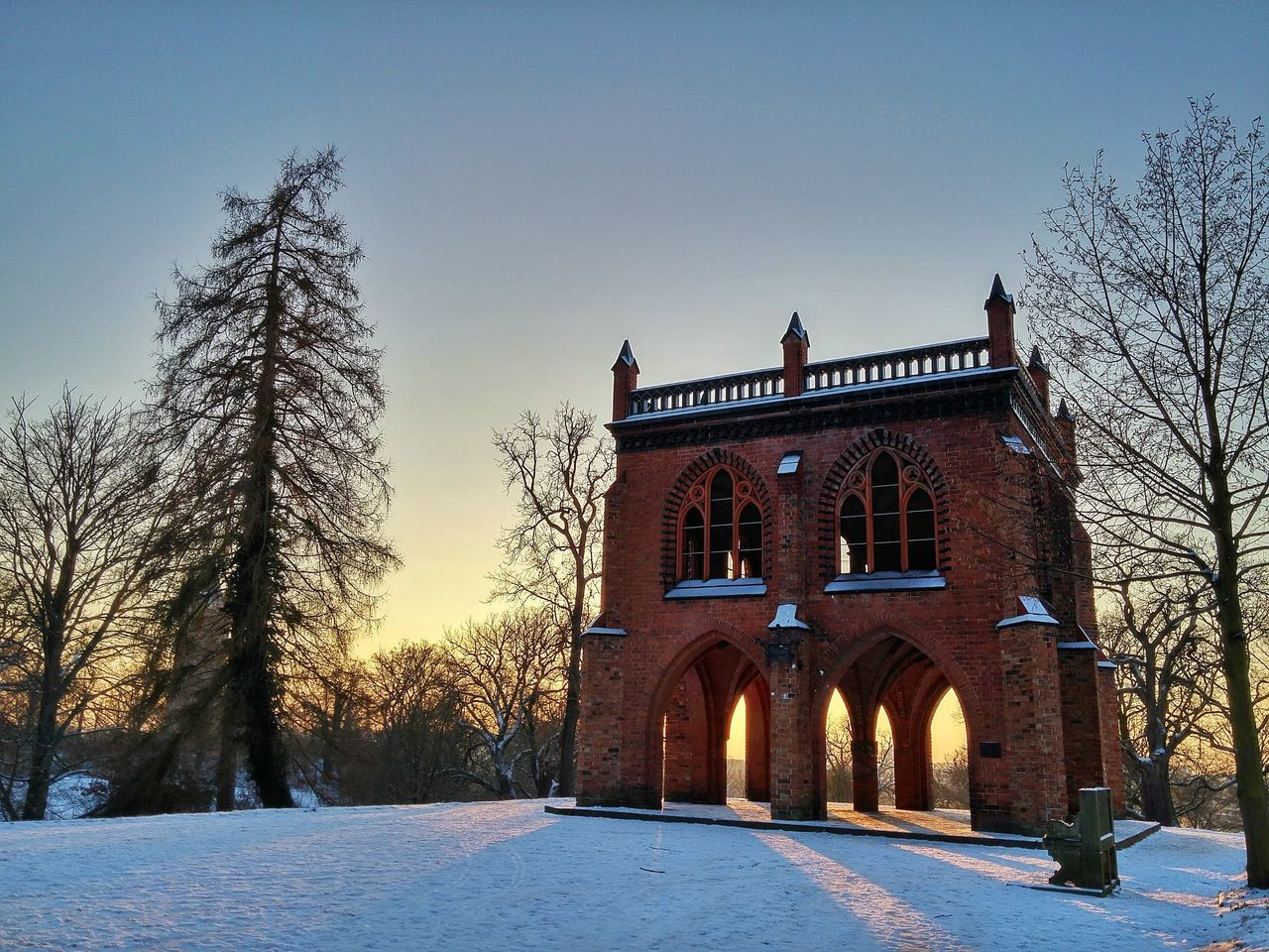 Architecture Babelsberg Babelsberger Park Built Structure Day Gerichtslaube Historical Building No People Outdoors Potsdam Shadows & Lights Sightseeing Sky Snow Snowing Sunset Sunsetlovers Tourist Attraction  Tree Winter