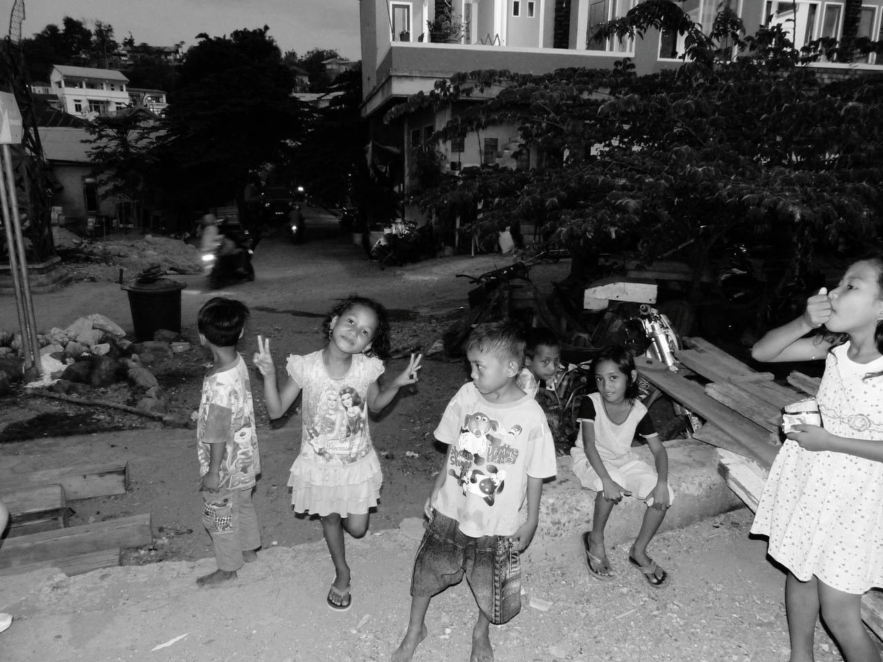 Child Childhood Medium Group Of People Togetherness People Kids Playing Happiness Blackandwhite Friendship Domestic Life INDONESIA Floresisland Labuanbajo