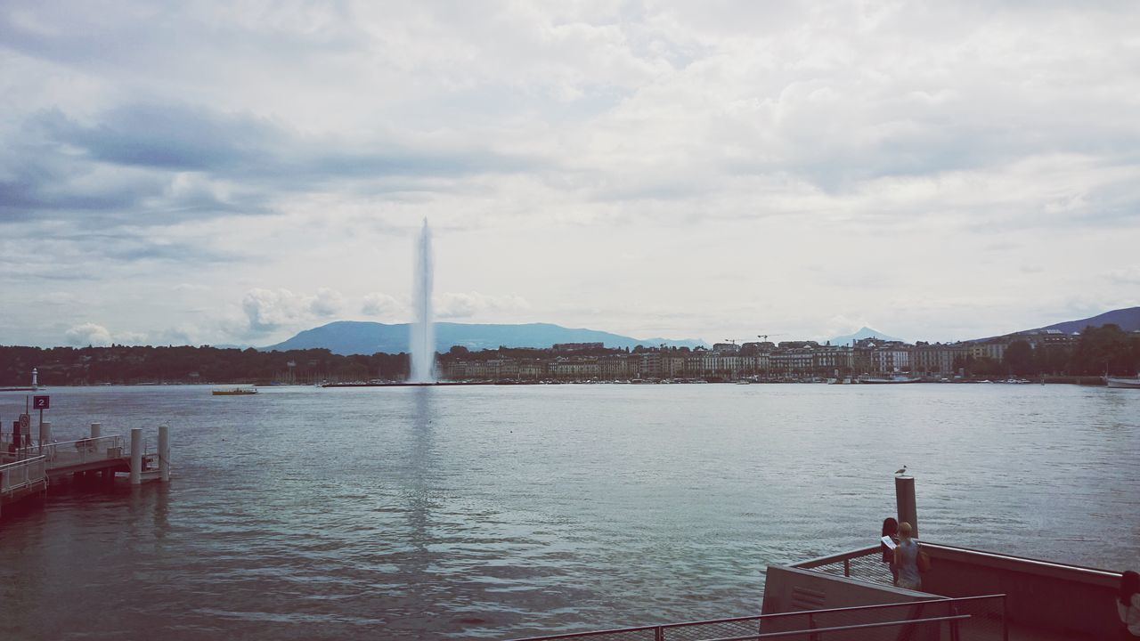 Sky Built Structure Water Architecture Day Cloud - Sky Mountain Smoke Stack No People Outdoors Nature Travel Destinations Scenics Building Exterior Beauty In Nature Clouds And Sky Splash Pressure Switzerland Fountain Geneve Traveling Lake Bams