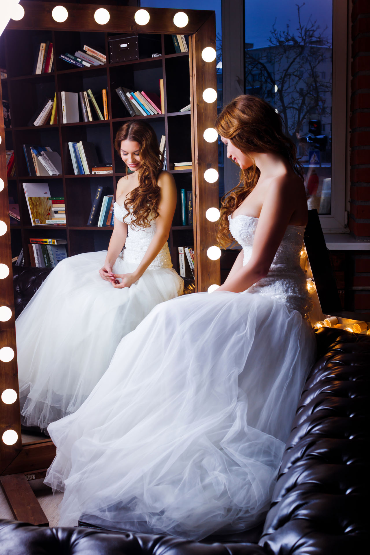 Books Bridal Shop Bride Bride And Groom Mirror Togetherness Wedding Wedding Dress White White Color