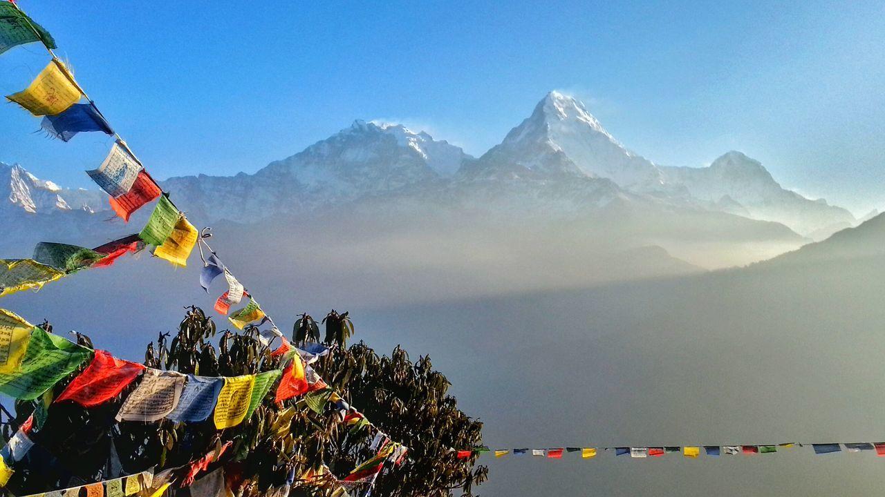 Landscapes With WhiteWall Landscape Annapurna Mountain Range Annapurna Range Mountains 😍 Awesome View Sherpaflags Ghorepani Ghorepanipoonhilltrek