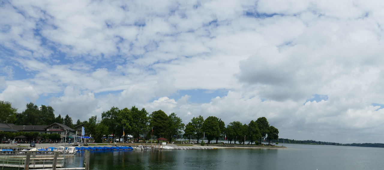 Architecture Beauty In Nature Cloud - Sky Day Lake Nature No People Outdoors Port Sea Sky Sky And Clouds Tree Tree Trees Water Waterfront