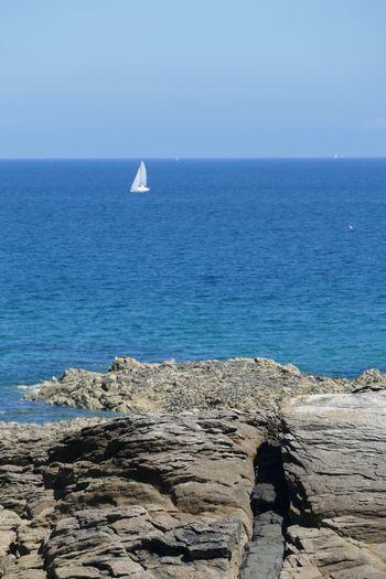 Sea Rock - Object Boats⛵️ Boat Sailboat Sailing Sail Coastline Landscape Sea And Sky Seascape Clear Sky Coastline Sky
