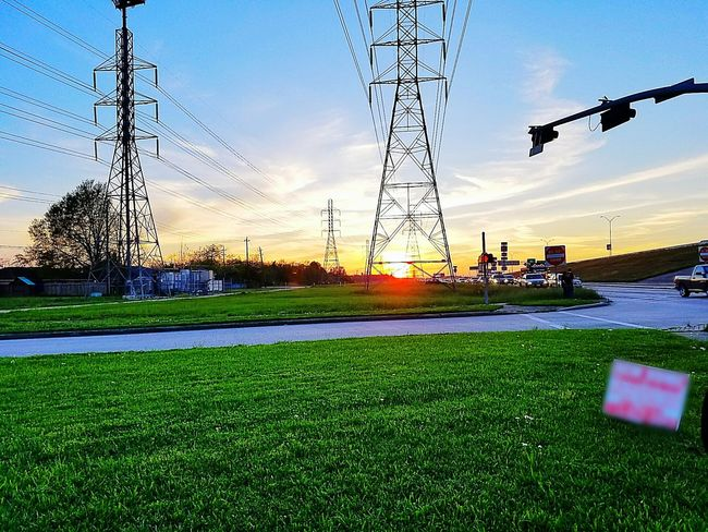 Power Line  Outdoors Green Color Sky Sunset Cloud Sun Check This Out Taking Photos Cloud - Sky Cloudy Houston Texas Electricity  Electric Lines Electric Pole Electric Tower  Electricity Wires Electric Wire Electricity Wires And Cables Electric Cable