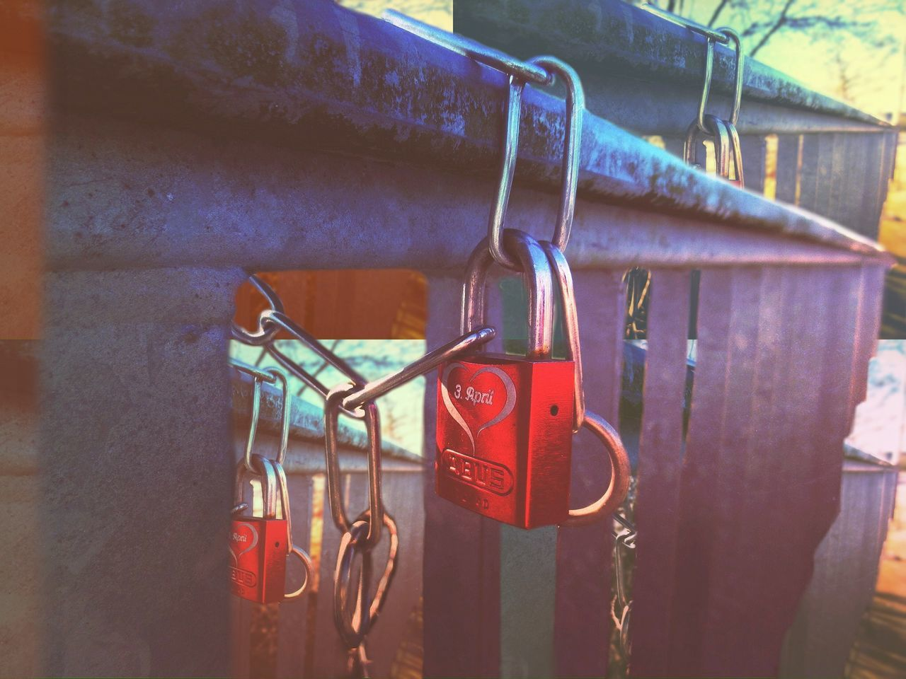some Unknown Lovecouple at my surrounding have Today a Jubilee Locklove - Edit Popart Lock Fence Railing Red Pink Key Love Iron Metal Northgermany Village View Tradition Traditional Couple Togetherness Symbol Chain Ritual