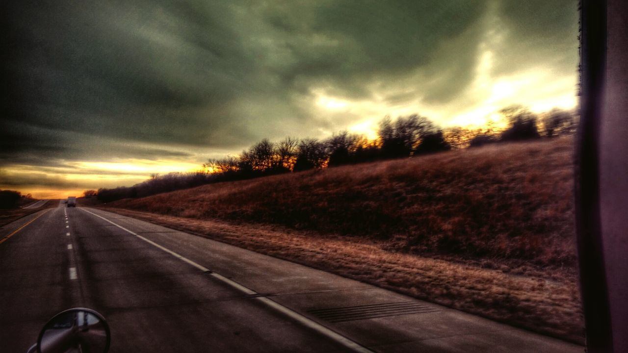 transportation, sunset, the way forward, road, diminishing perspective, sky, cloud - sky, nature, no people, scenics, landscape, tree, outdoors, beauty in nature, day, close-up