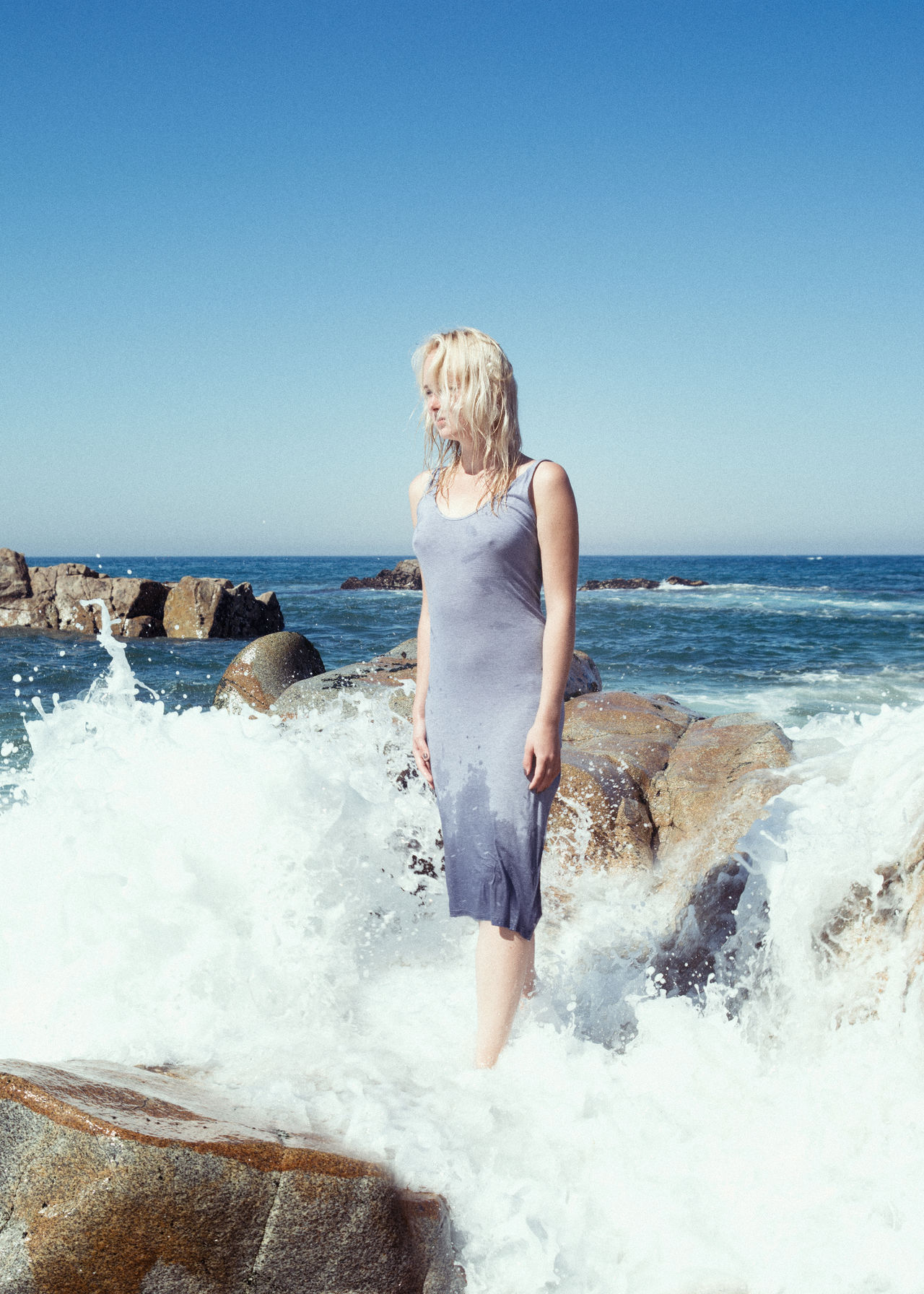 Ocean's Pulse Blonde Blue Female Girl Linas Was Here Model Ocean Rocks Shore Summer Water Waves White