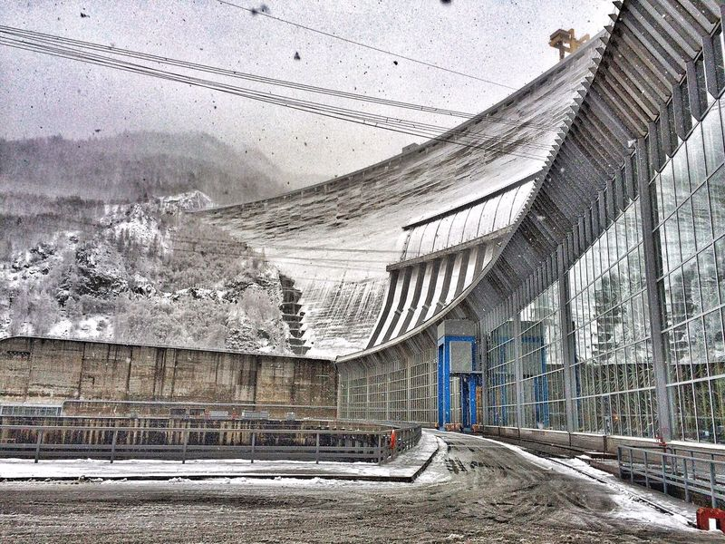 Yenisei River Dam Hydroelectric Power Plant Built Structure Industrial Landscapes Industrial Architecture Winter Cold Temperature Snow No People Mountain Snowing Day