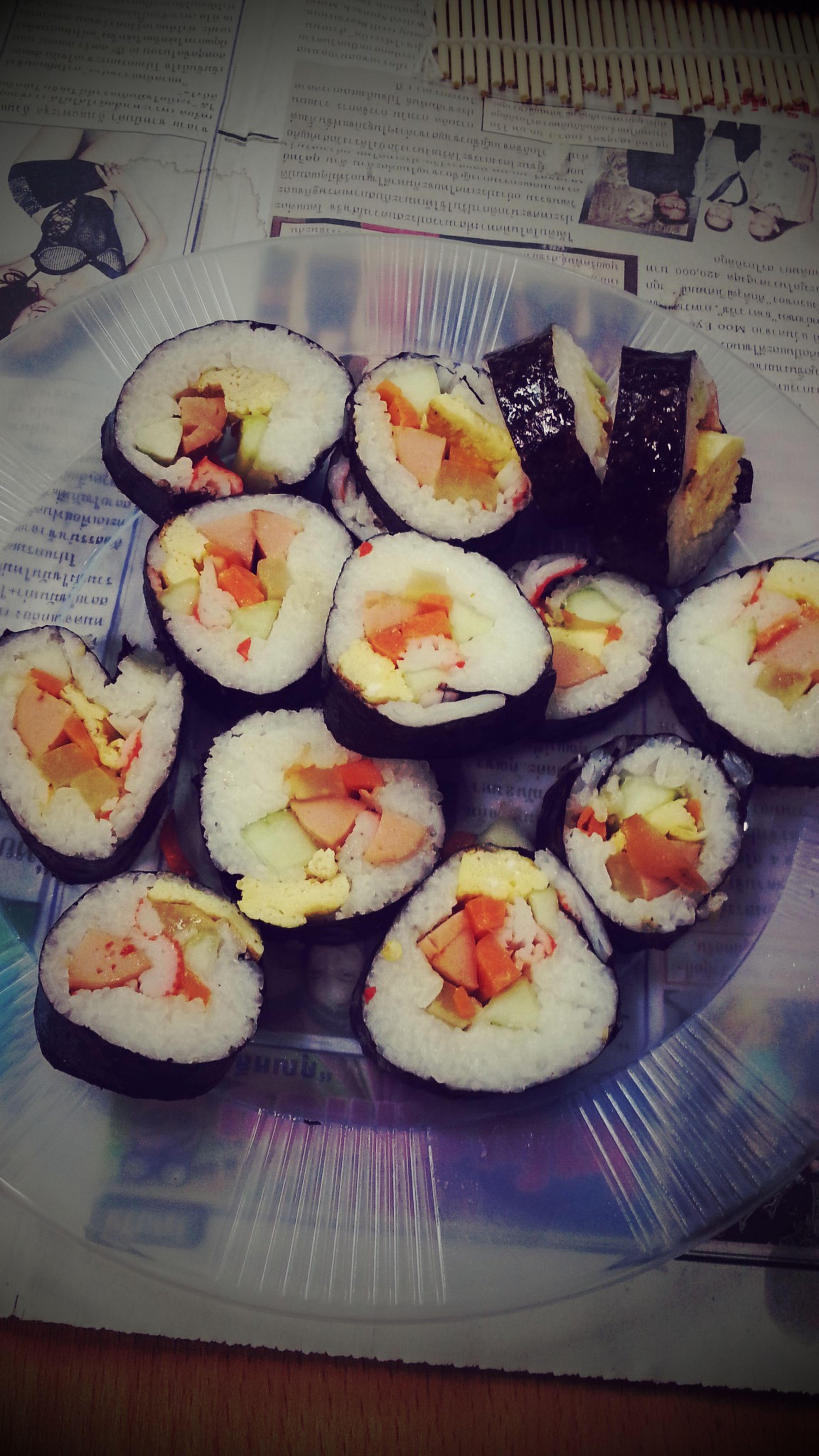 "Mini-Korean cooking class tonight would like to present you ""Kimbab"" ^^"