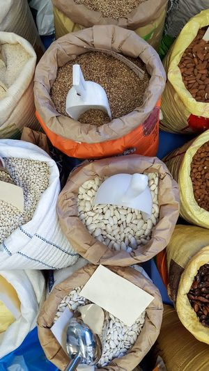 High Angle View For Sale Full Frame Backgrounds No People Variation Retail  Market Food Close-up Pulses Beans Powder Bags Sacks Greece Lefkada Shop Stall Store Scoop Ingredient Abundance Variety