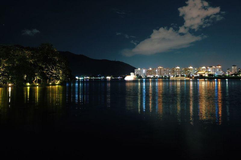 Night Sky Water Lake Cityscape