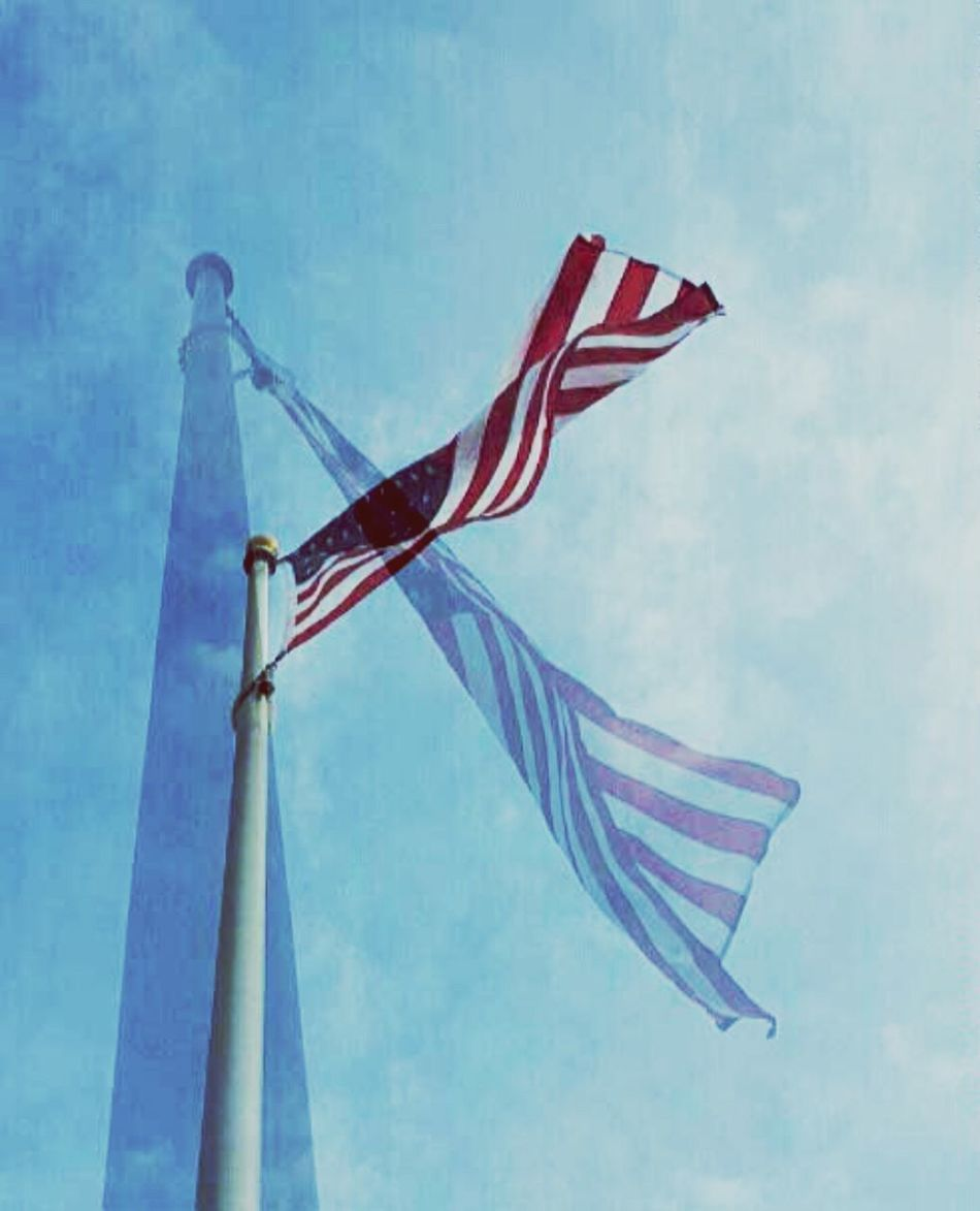 American Flag Sky And Flagpole Politics Political Presidential Election 2016 Democrat Republican National Elections Freedom Symbolism Of America