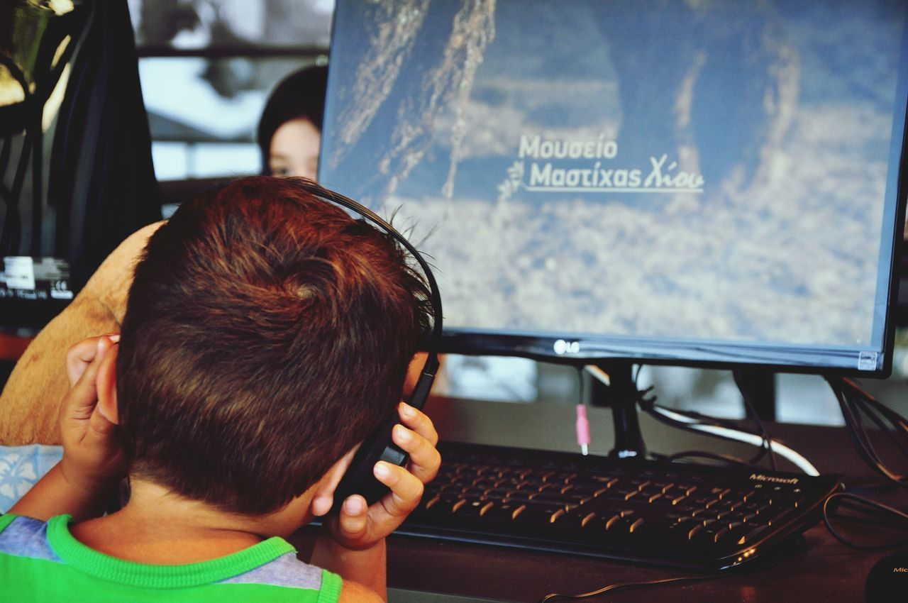 Internet Addiction My 2 years old son at the Mastiha Museum. Rear View Close-up Person Focus On Foreground Childhood My Son My Student Life Human Meets Technology Humaninterest Technology I Can't Live Without Technology Desktopcomputer Monitor Little Boy Headphones From My Point Of View Personal Perspective Technology Everywhere Technology Addiction Envision The Future Museum A Day At The Museum Future Vision