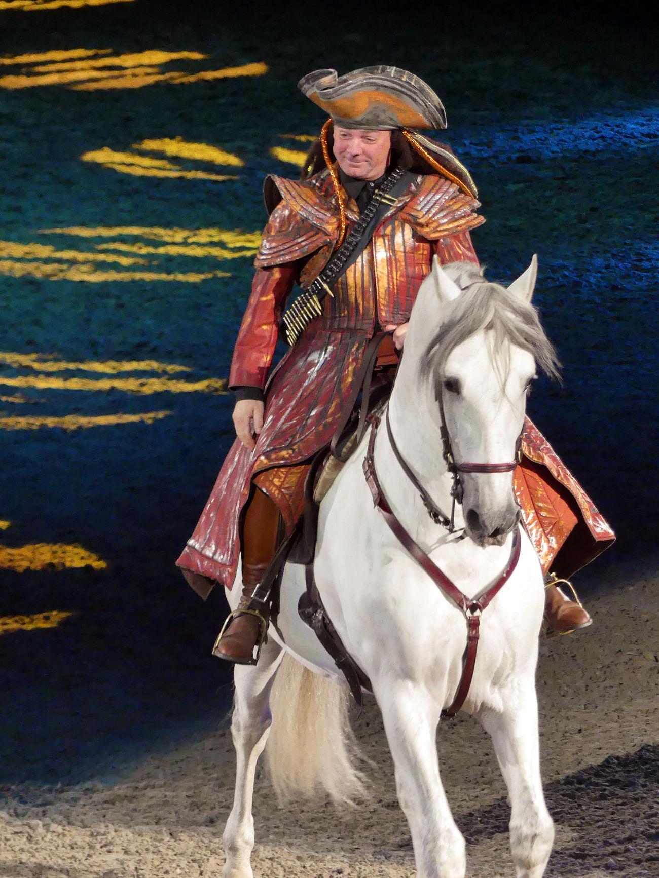 Adult Apassionata Horse Horse Show Horseback Riding Man On Horseback Pirate Pirate On Horse Riding Traditional Clothing White Horse Working Animal