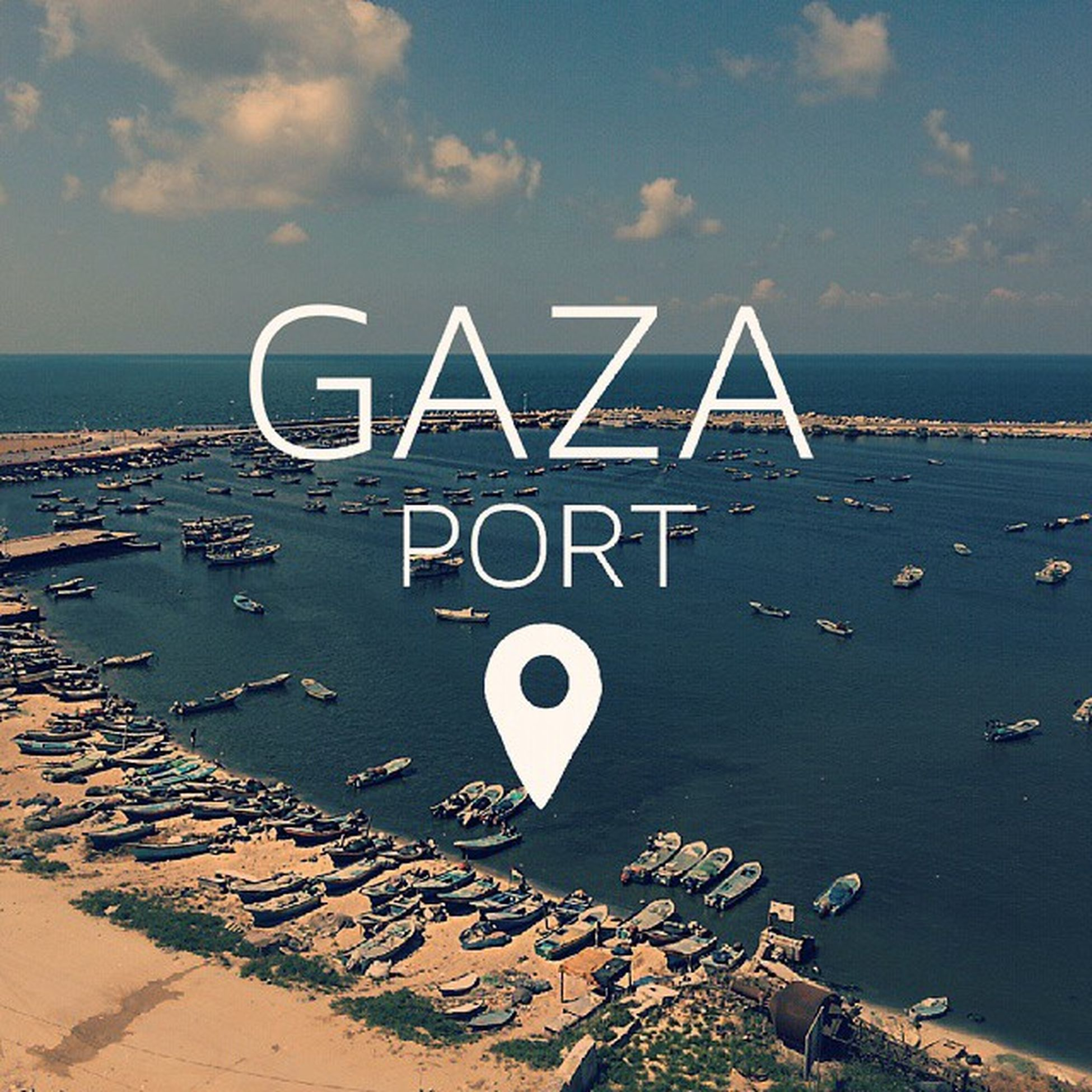 Gaza Port Gazaport Palestine Location Summer Sunny Morning Launch Adam Hotel Boats Sea Beach Clouds Font RJ