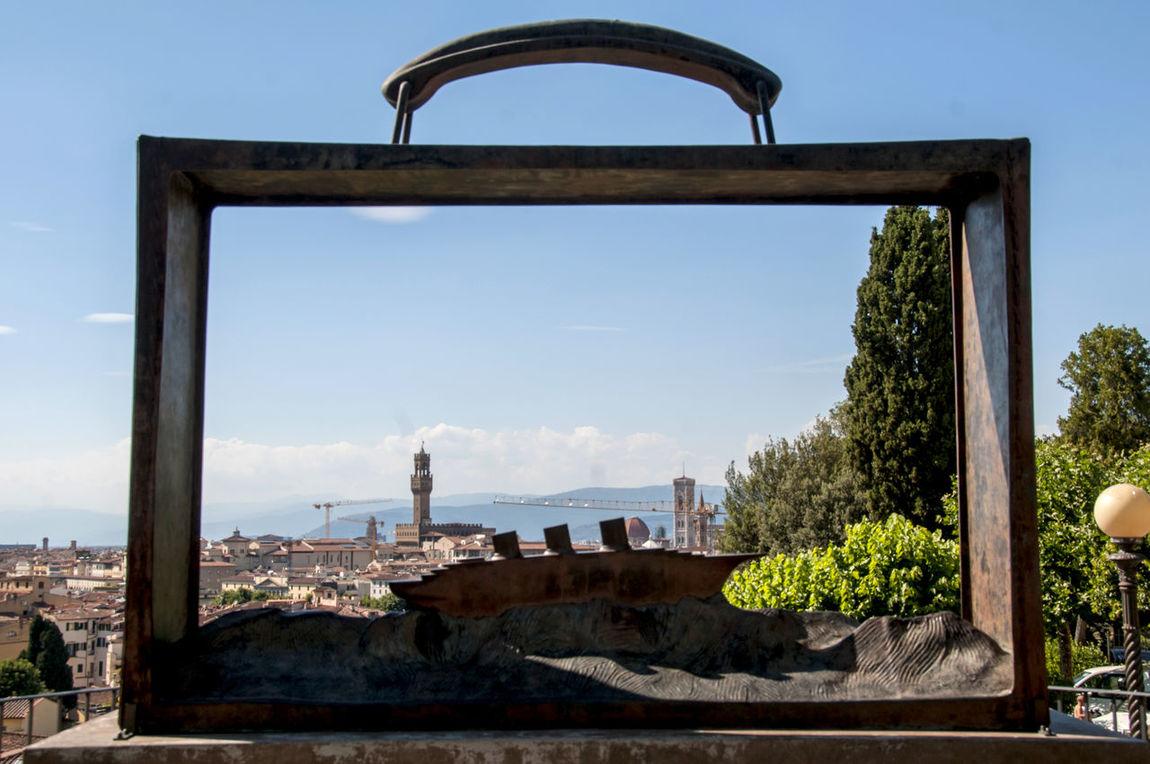 "Florence, the ""Folon suitcase"" in the Garden of Roses Artist Belgian  City Cityscape Firenze Folon Garden Of Roses Jean-Michel Folon Suitcase"