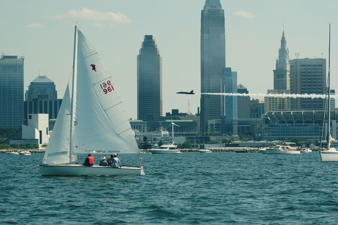 Cleveland Airshow 2016 Cleveland Airshow Water Nautical Vessel Waterfront Transportation Boat Architecture Built Structure Building Exterior Sea Mode Of Transport River Sky City Skyscraper Journey Sailing Outdoors Cloud Day Tourism This Is CLE Cleveland Ohio, USA