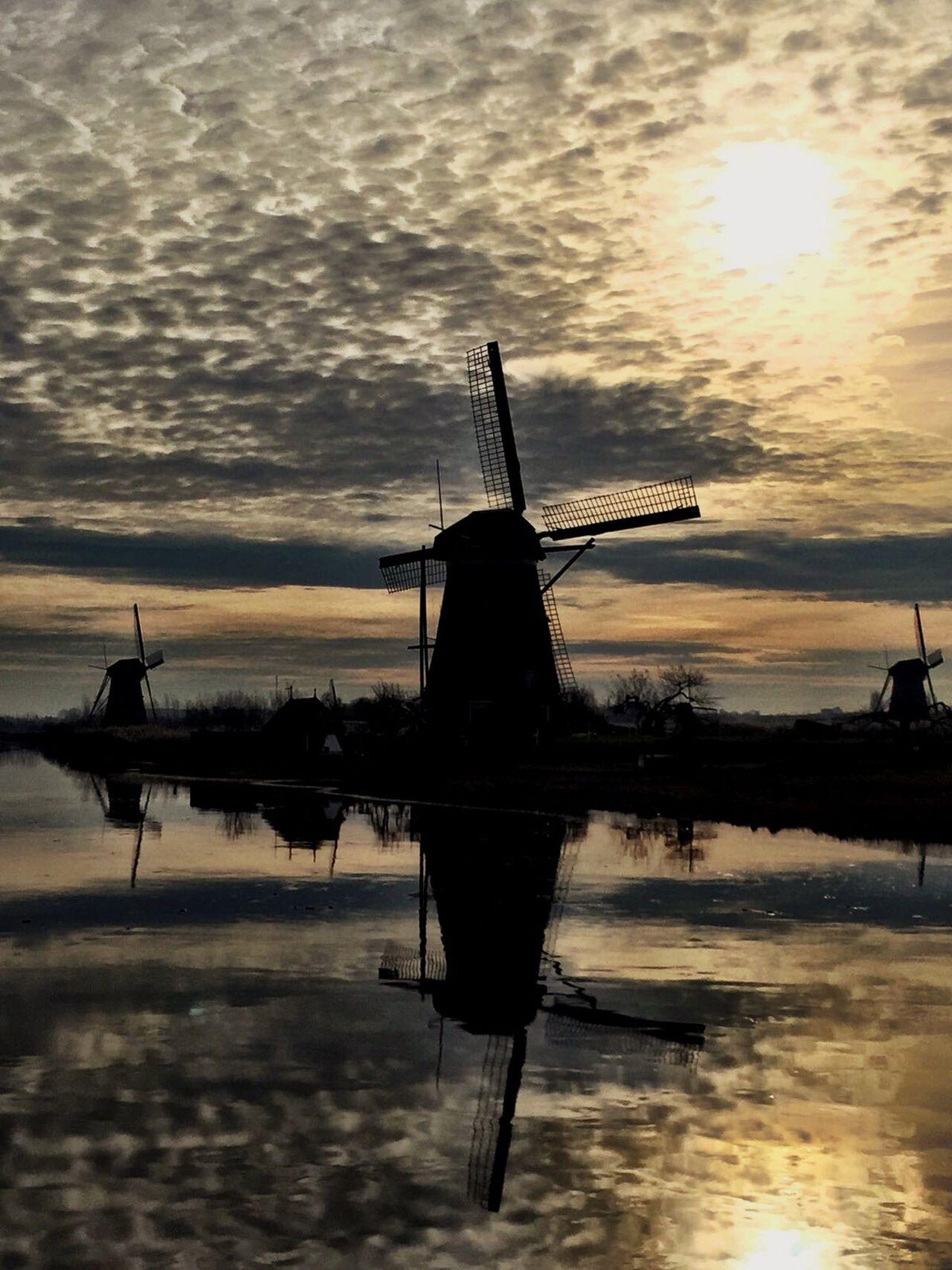 Kinderdijk Reflection Water Sky Sunset Windmill Holland Netherlands Into The Light Shadow