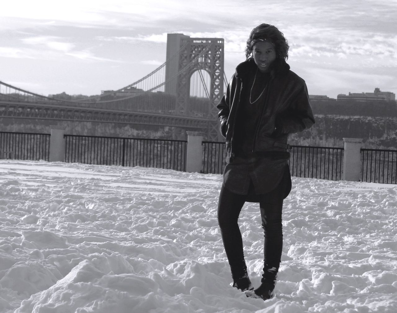 Portrait Of A Woman George Washington Bridge New York City Snow Confident  Sunny Day Modeling Photo View From Across The Bridge (NY)
