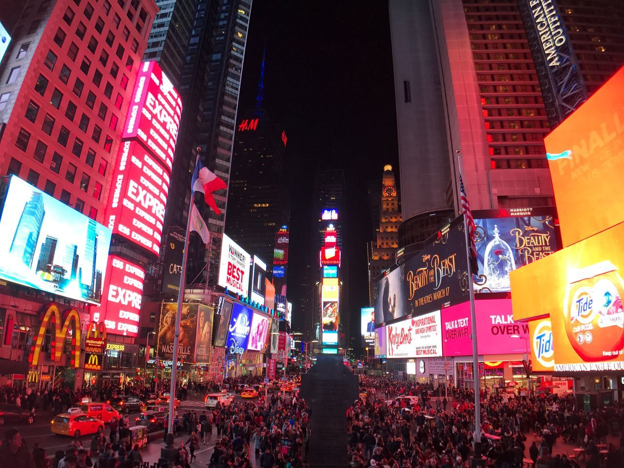 Times Square NYC Illuminated Night Building Exterior Neon Travel Destinations City Nightlife Large Group Of People Architecture Crowd Skyscraper Outdoors Sky People