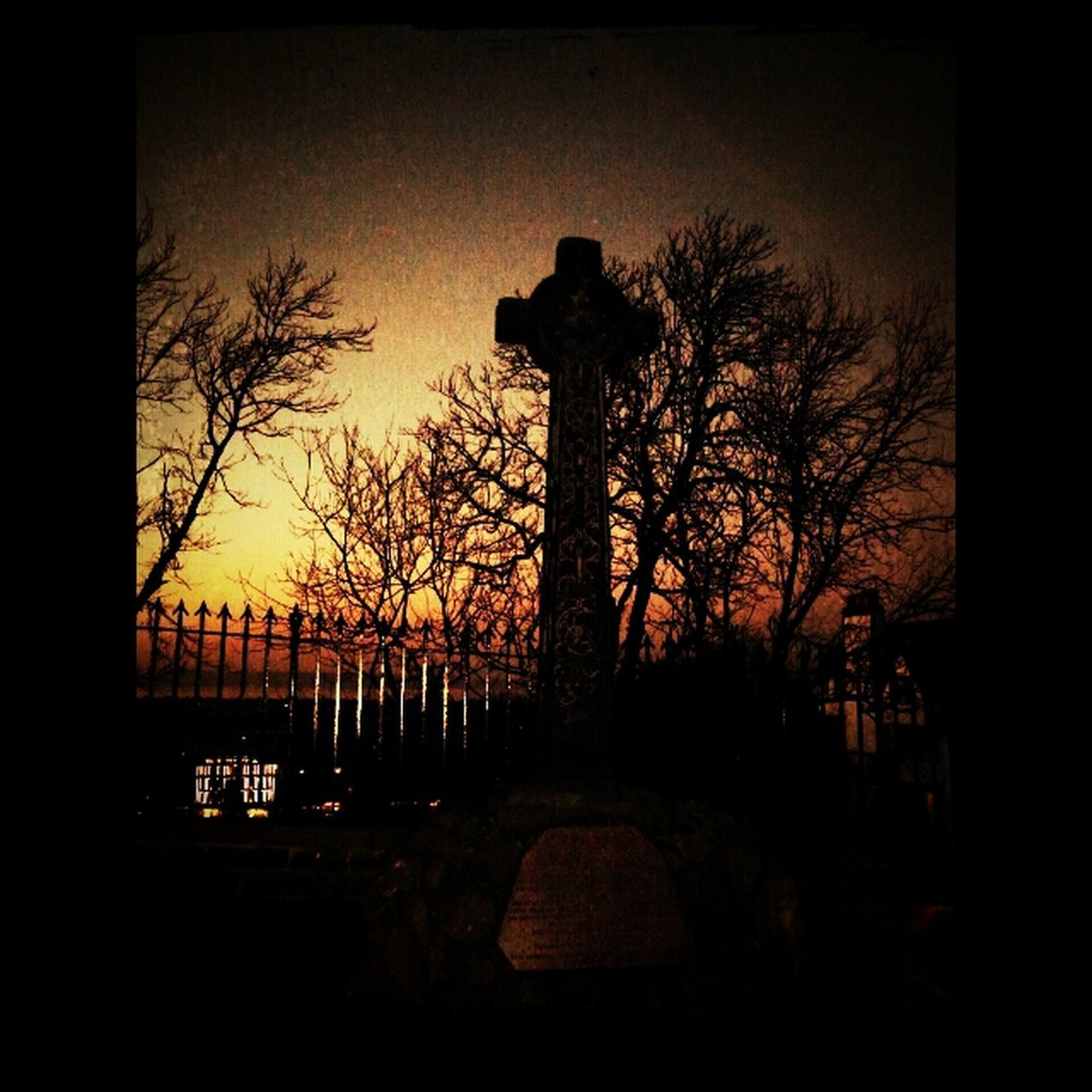 silhouette, tombstone, cemetery, tree, bare tree, cross, gravestone, memorial, graveyard, no people, sunset, sky, outdoors, grave, tranquility, spirituality, nature, day, architecture