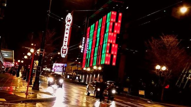 Paramount at night. Seattle Paramount  Theater Washington