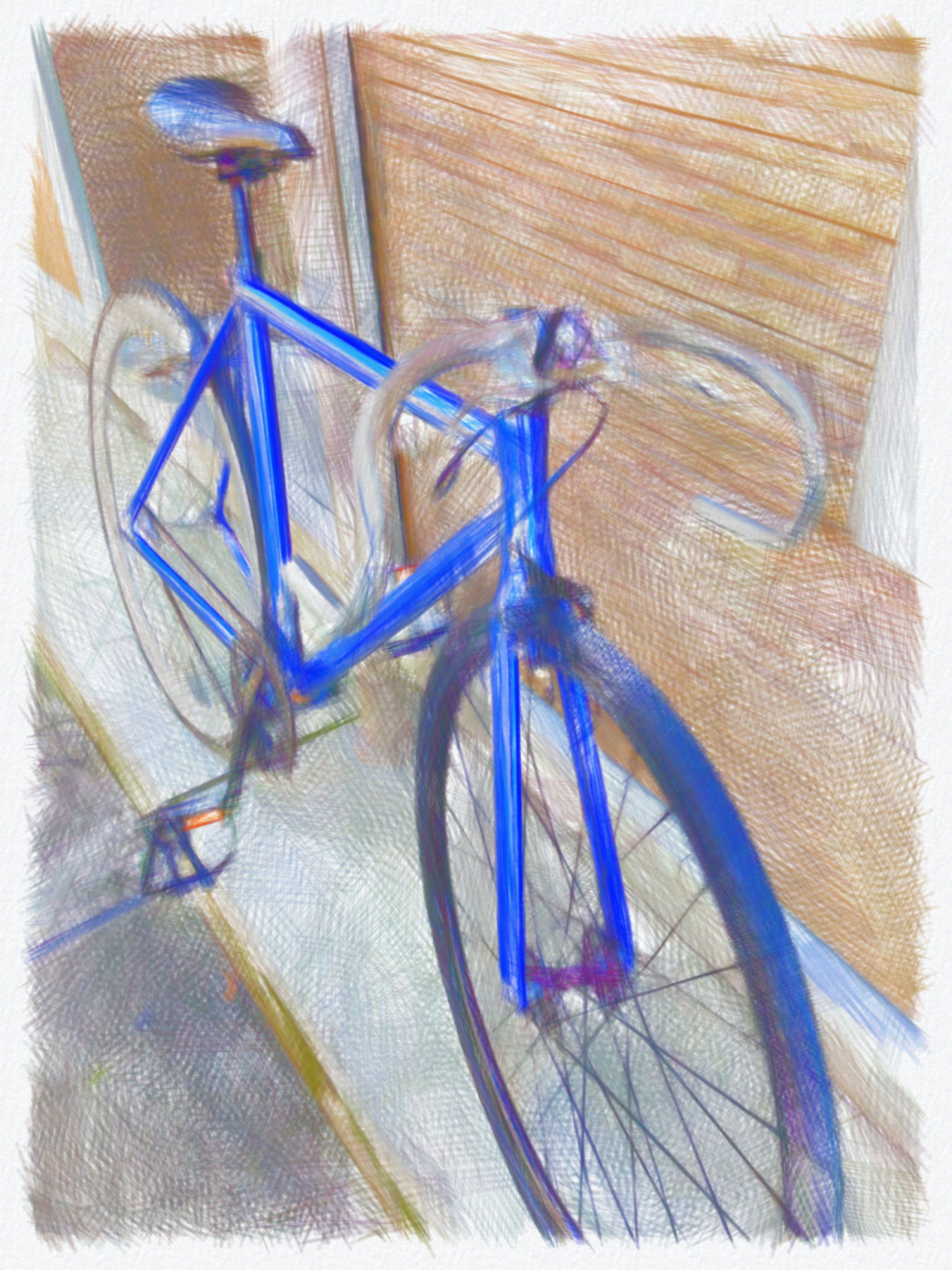 transfer print, auto post production filter, indoors, blue, bicycle, no people, high angle view, still life, art and craft, close-up, wall - building feature, day, shadow, animal representation, land vehicle, art, creativity, table, sunlight, architecture